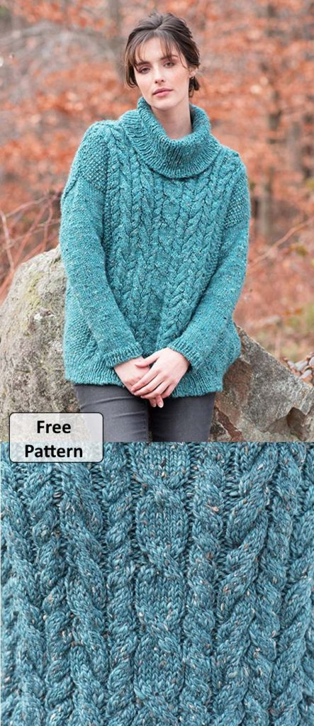 free knitting pattern for a ladies turtleneck sweater with cable stitch