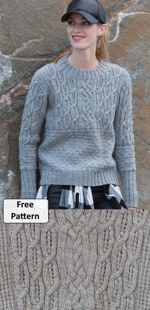 Free knitting pattern for women's cable sweater from Patons