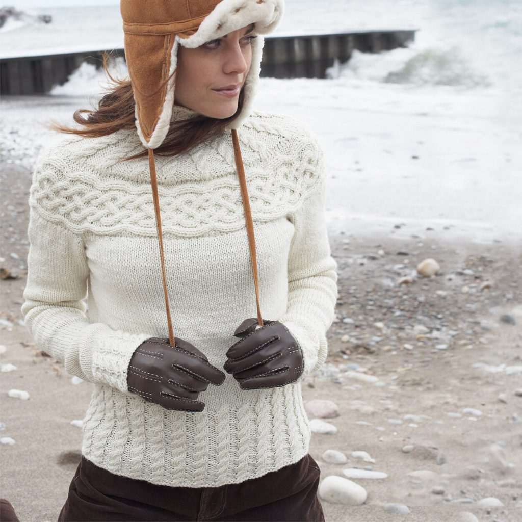 Patons Cabled Yoke Pullover Free Knitting Pattern