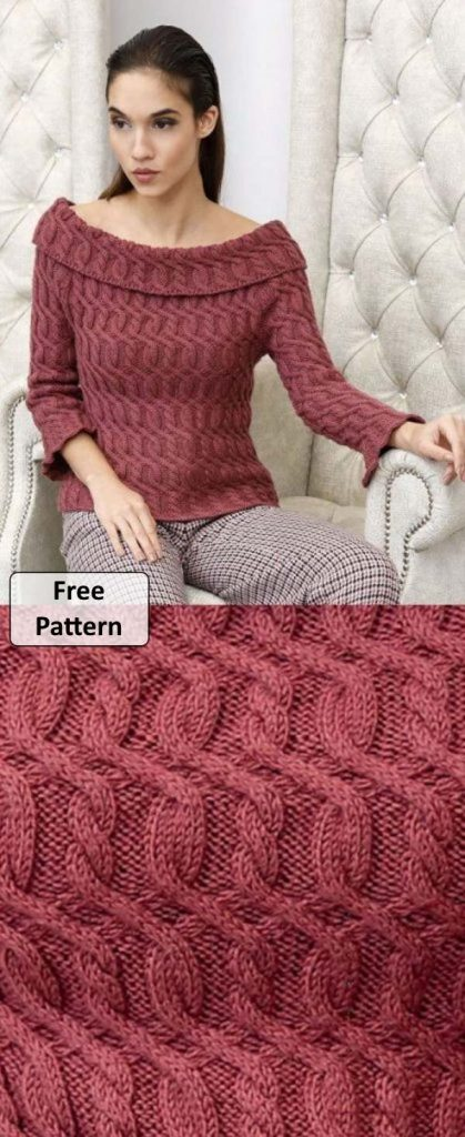 Free Knitting Pattern for a Turned, wide neck sweater with beautiful continuous cables. Fashionable new design from Lana Gatto.