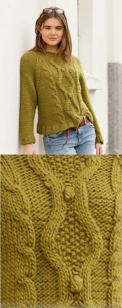 free ladies cable sweater knitting pattern