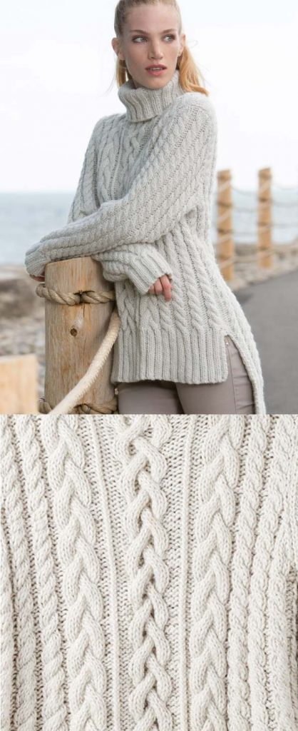 free cable sweater knitting pattern with split hem