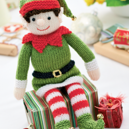 Free knitting pattern for Bernard the Christmas elf