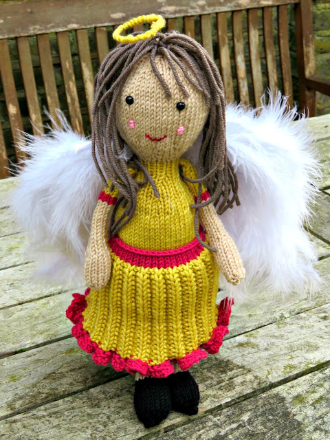 Free knitting pattern for an angel doll