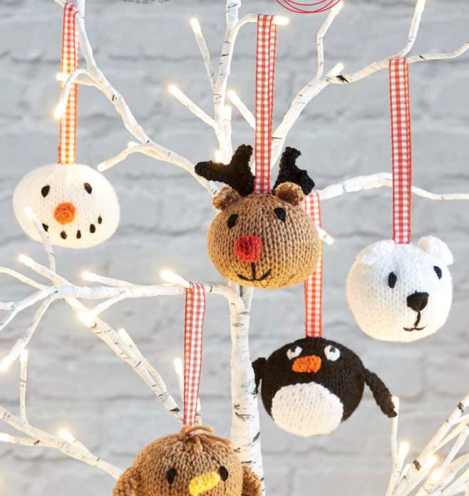 Christmas character baubles knitting pattern