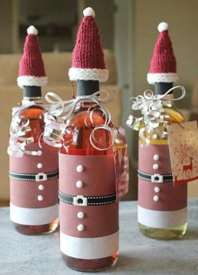 Free Knit Santa Hat for Drink Bottles