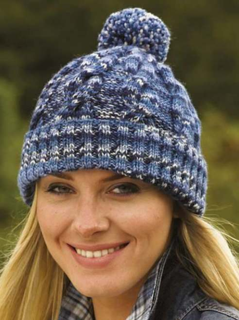 Free Knitting Pattern for a Cabled Hat with Variegated Yarn