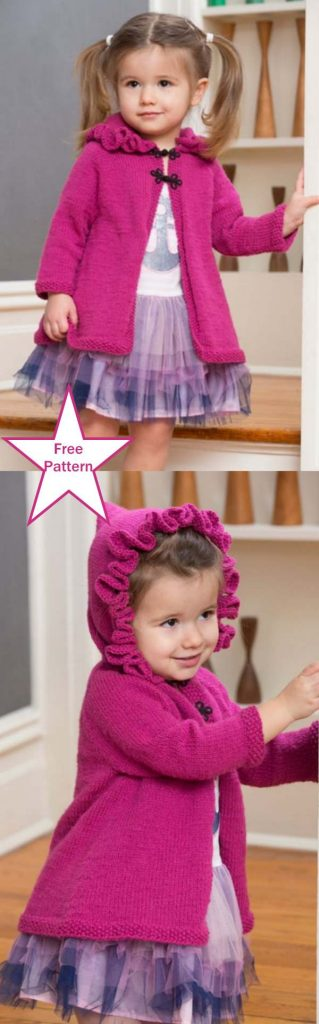 Free Knitting Pattern for a Girl's Ruffle Hood Coat