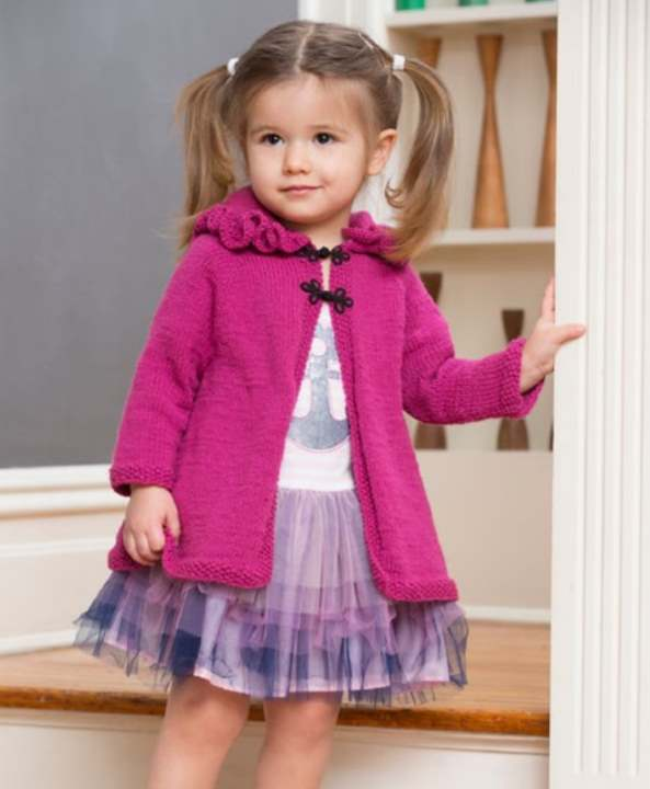 Free Knitting Pattern for a Girls Ruffle Hood Coat