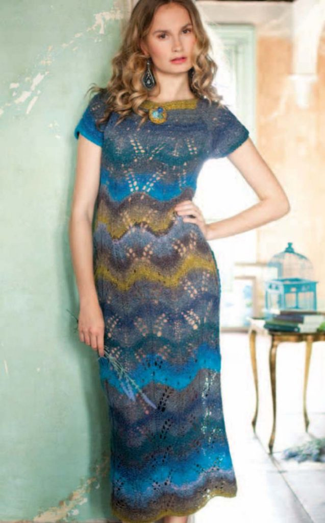 Free Knitting Pattern for a Lace Maxi Dress