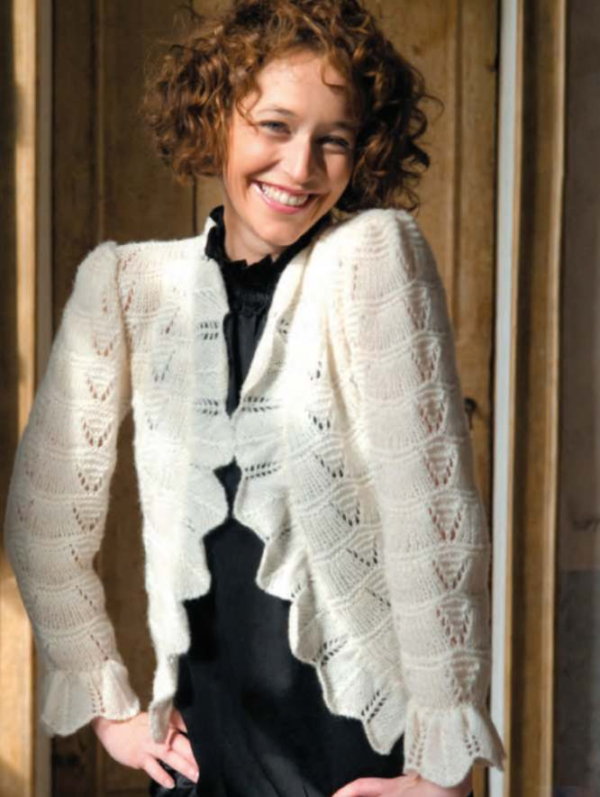 Free Knitting Pattern for a Ladies Fan Stitch Jacket