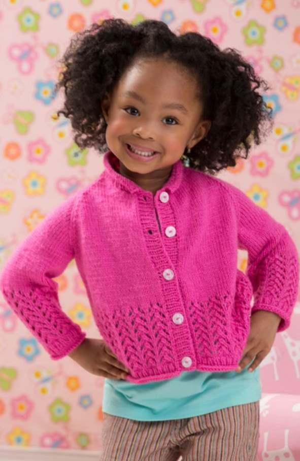 Free Knitting Pattern for an Eyelet Cardigan for Girls