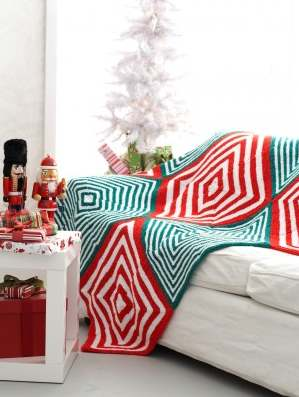 Free Christmas blanket knitting pattern mitered
