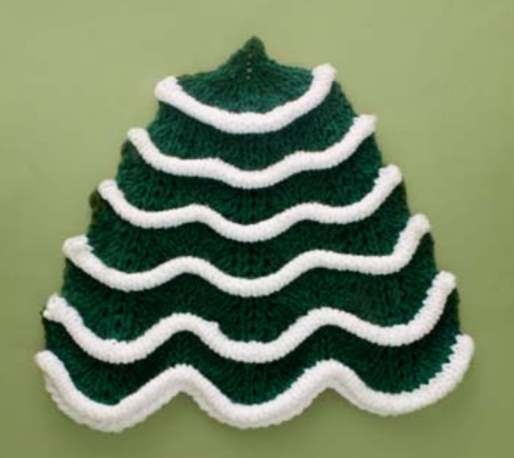 Free knitting pattern for a Christmas tree dishcloth