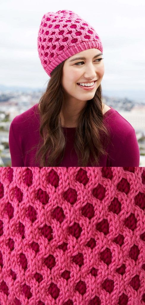 Free knitting pattern for a cabled honeycomb hat