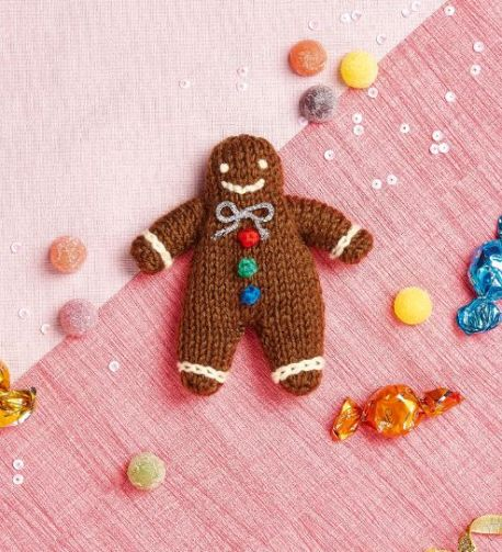 Free knitting pattern for a Gingerbread man