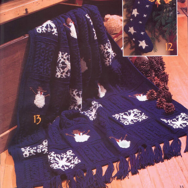 Traditional Christmas throw knitting pattern - free