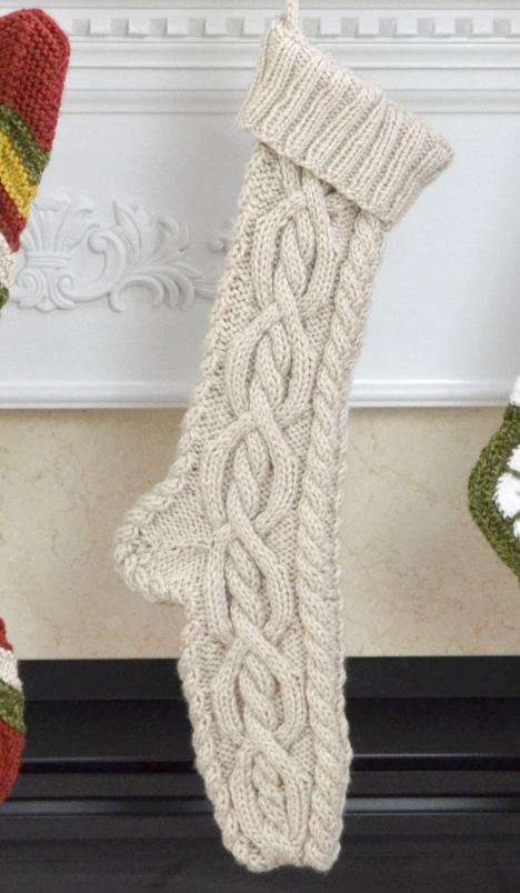 Cable Christmas stocking free knit pattern