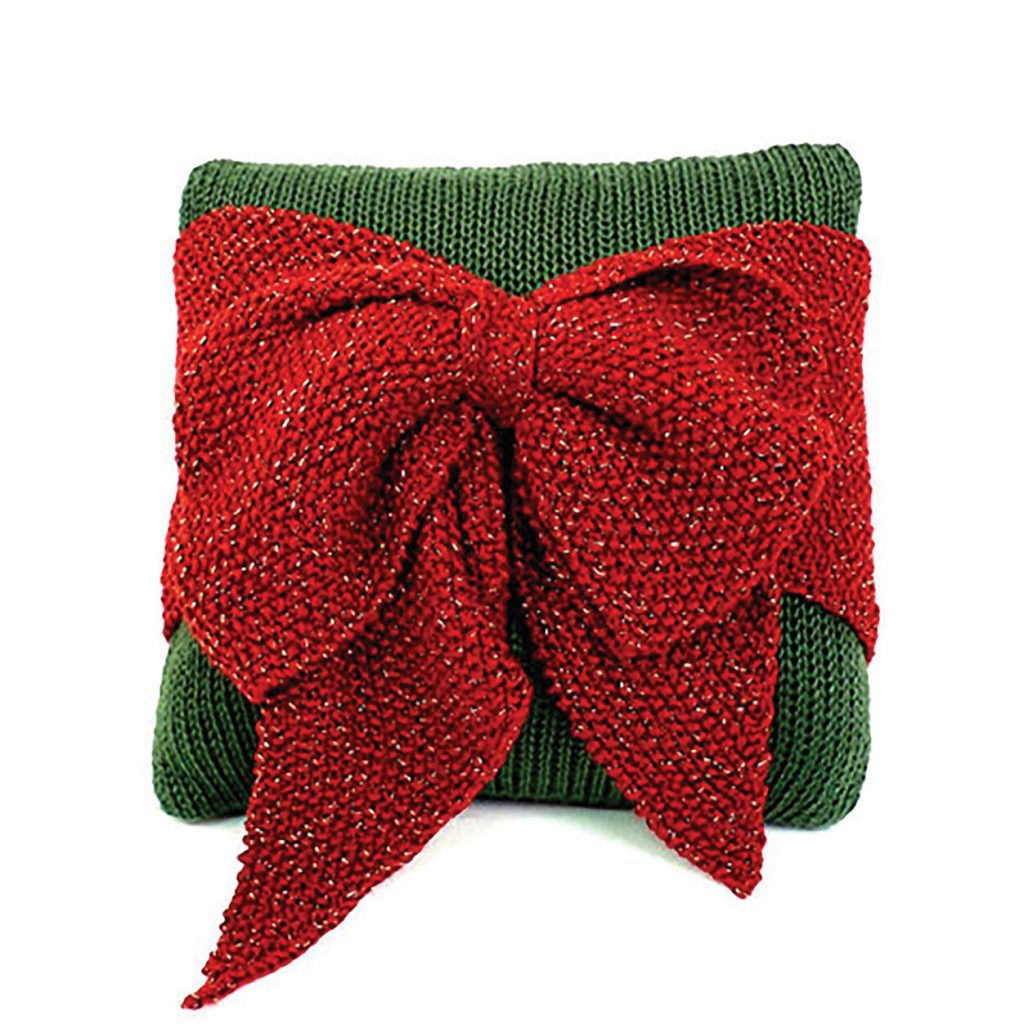 Christmas Bow Pillow Free Knit Pattern