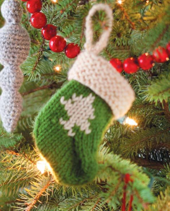 Christmas stocking tree ornament knit pattern