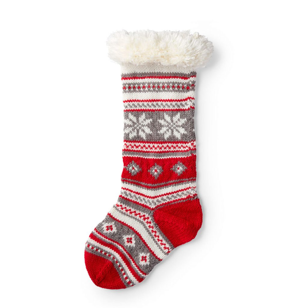Festive Fair Isle Christmas stocking free pattern