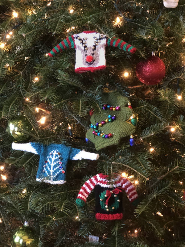 Free knitting pattern for ugly Christmas sweater ornaments