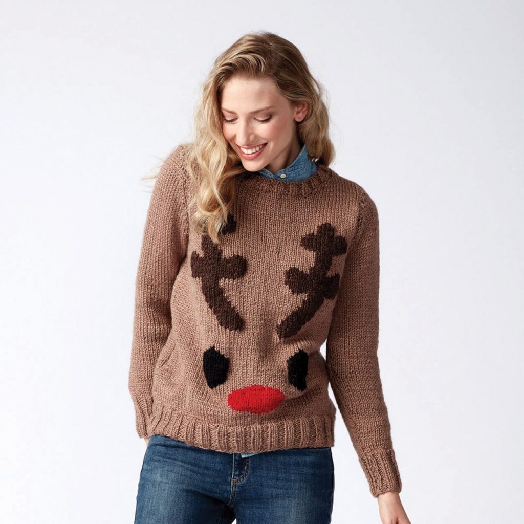 Free Xmas knitting pattern for a reindeer sweater