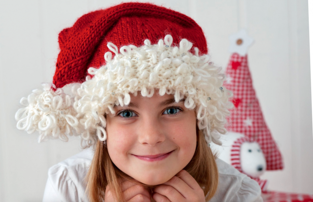 Free knit pattern for a loopy cuff santa hat