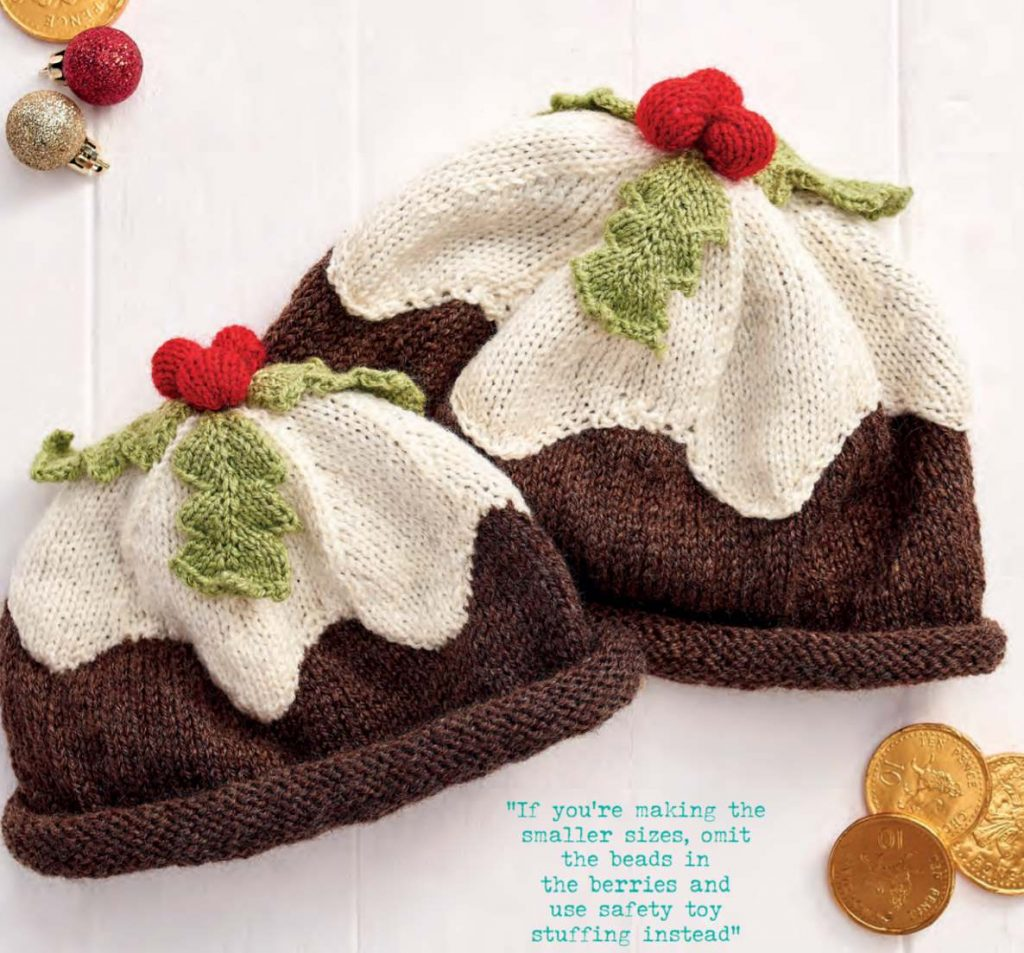 Free knitting pattern for a Christmas Pudding Hat
