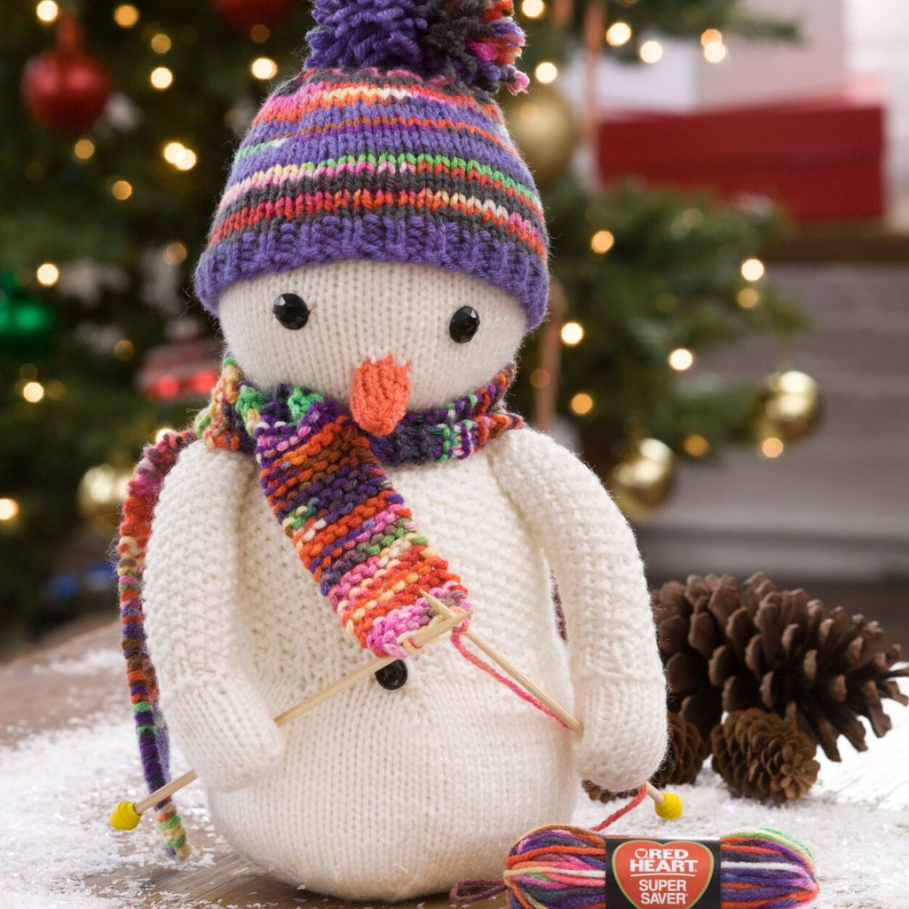 Free knitting pattern for a snowman