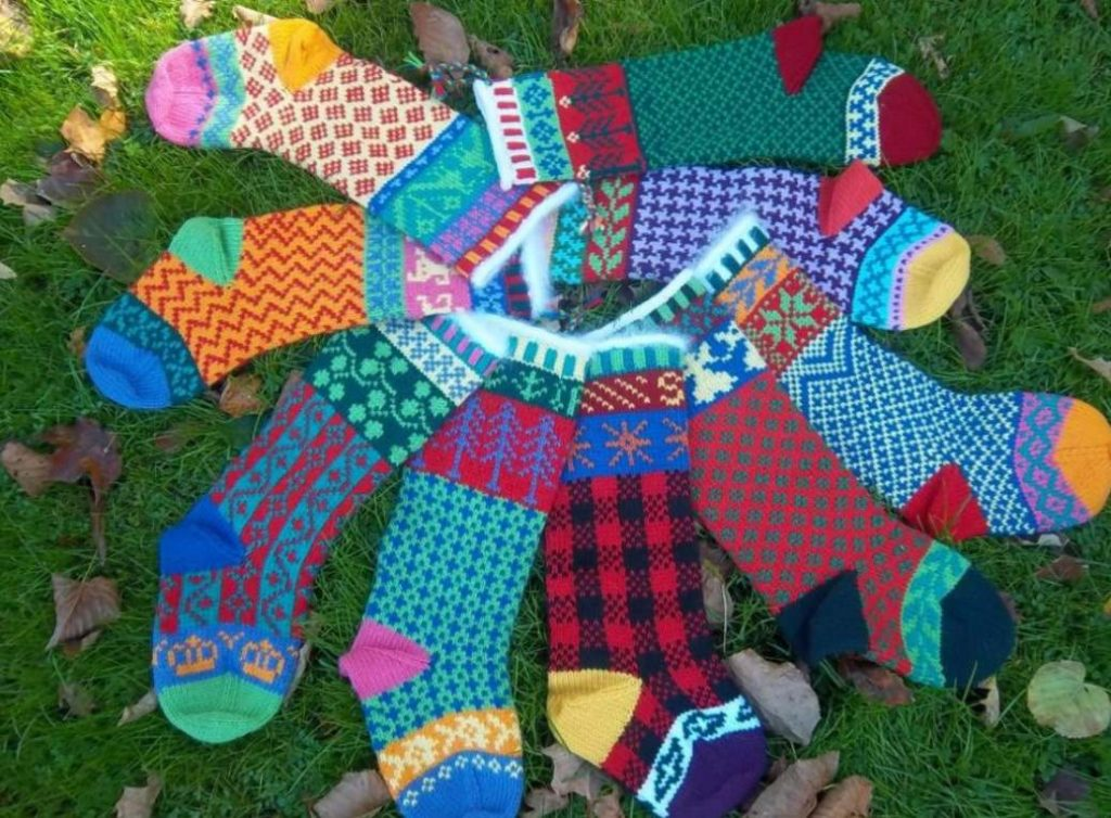 Free knitting pattern for fair isle Christmas stockings