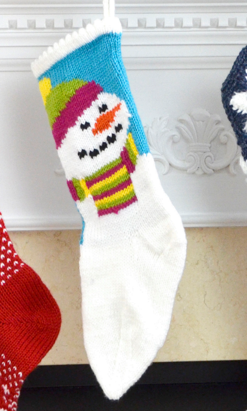 Free snowman and stocking knit pattern