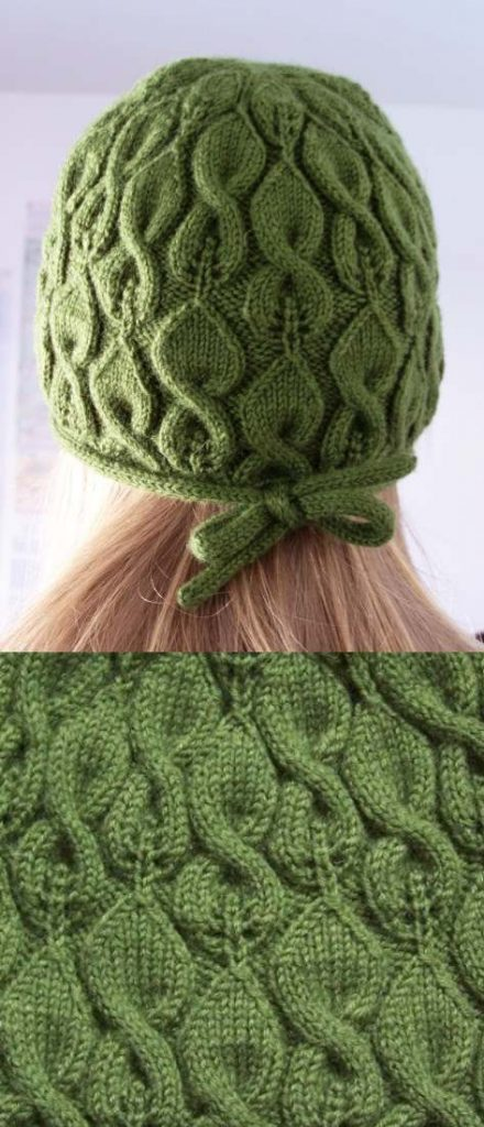 Liffey a Lace Leaf and Cable Hat Knit Pattern