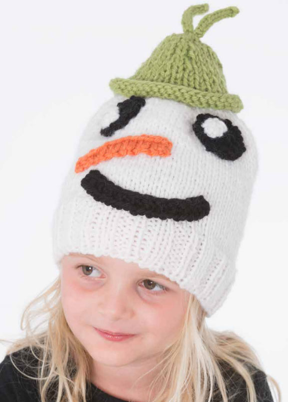 Free knitting pattern for a child's snowman hat