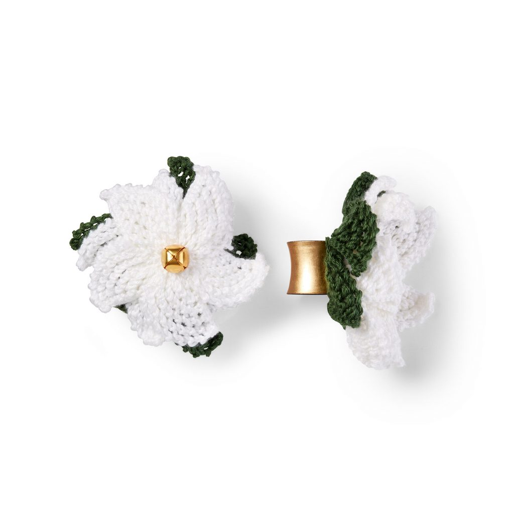 Poinsettia napkin ring knit pattern free