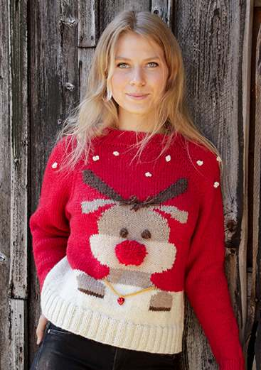 Rudolf red nose reindeer sweater free pattern
