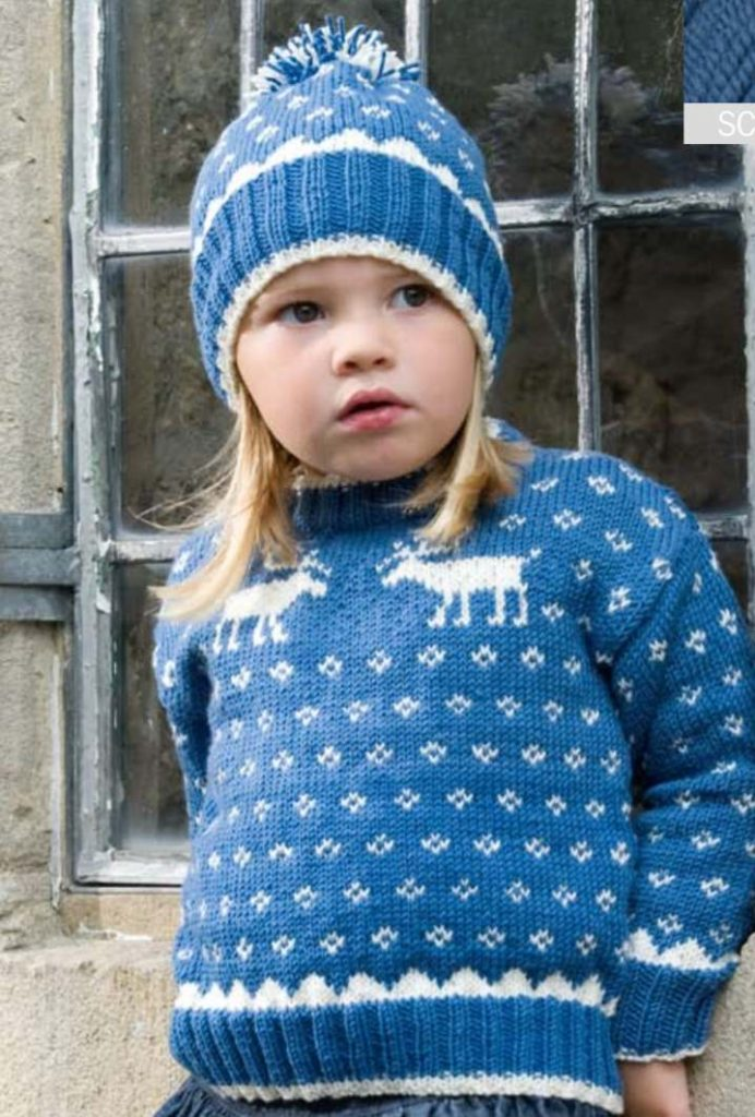 Scandinavian Christmas set hat and sweater for kids