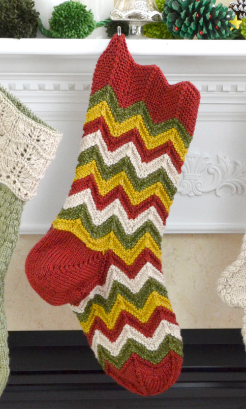 Wave Xmas stocking free knit pattern
