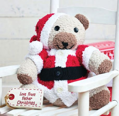 Free pattern for a knit Christmas teddy