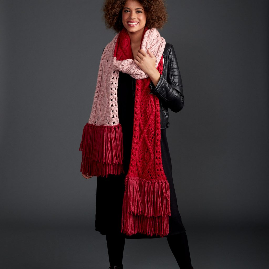 Aryle cable lace free scarf knitting pattern