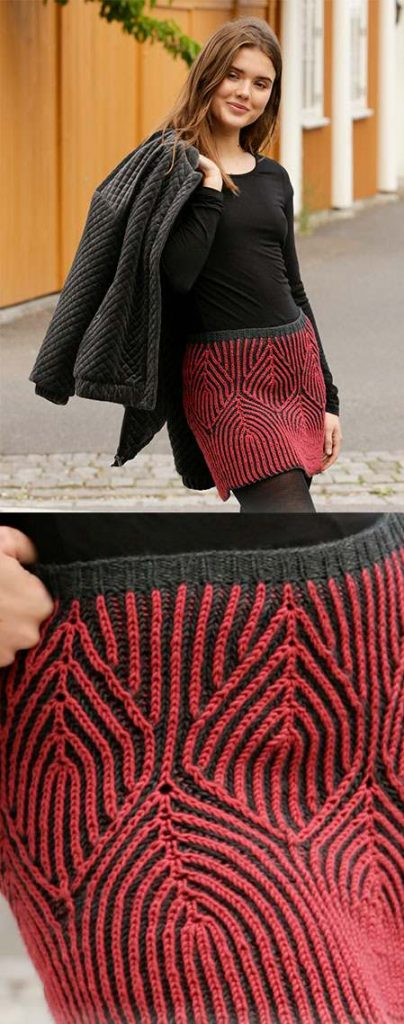 Free Knitting Pattern for an English Rib Skirt