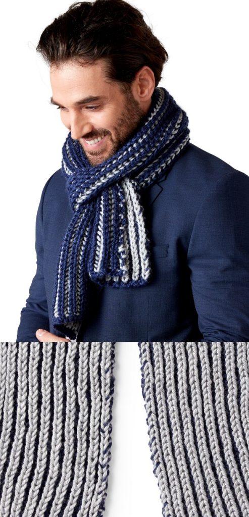 Free easy risherman rib scarf for men