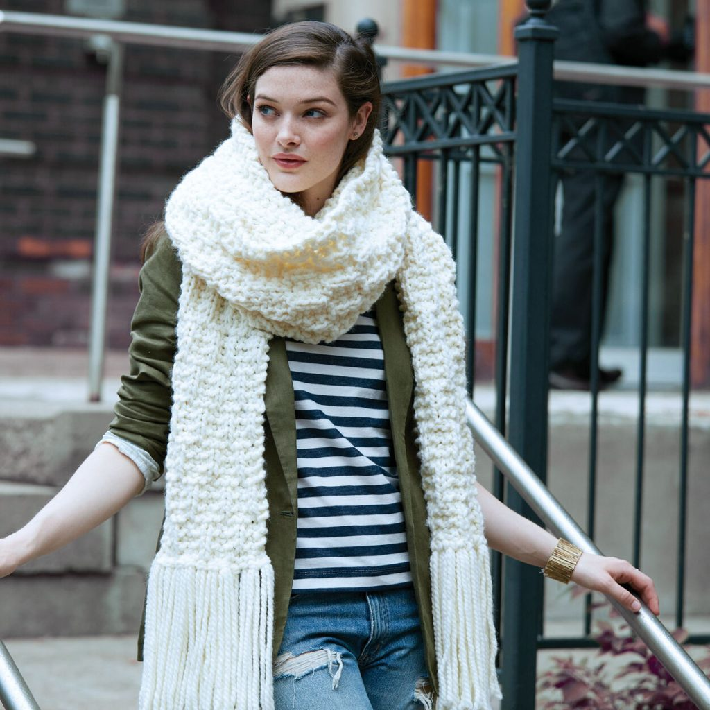 Free knitting pattern for a big knit scarf