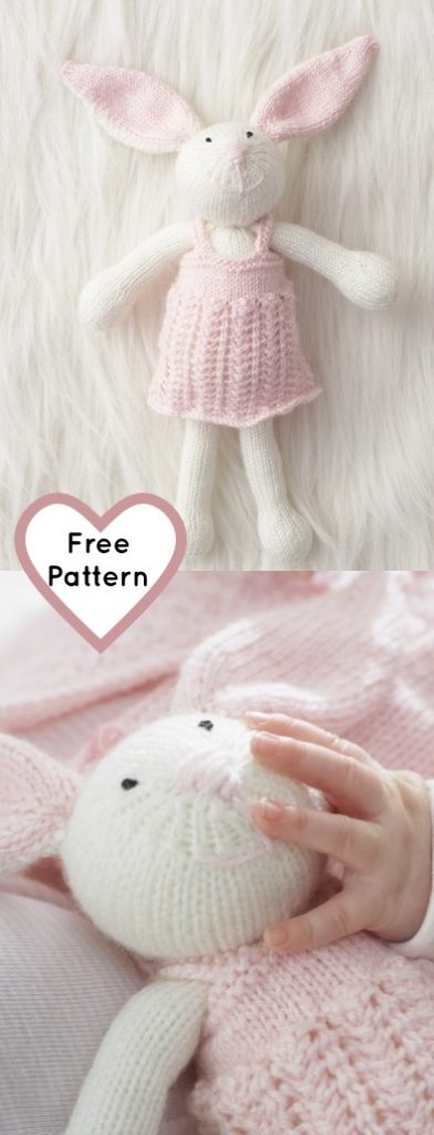 Free knitting pattern for a bunny rabbit, great free Easter knit pattern.