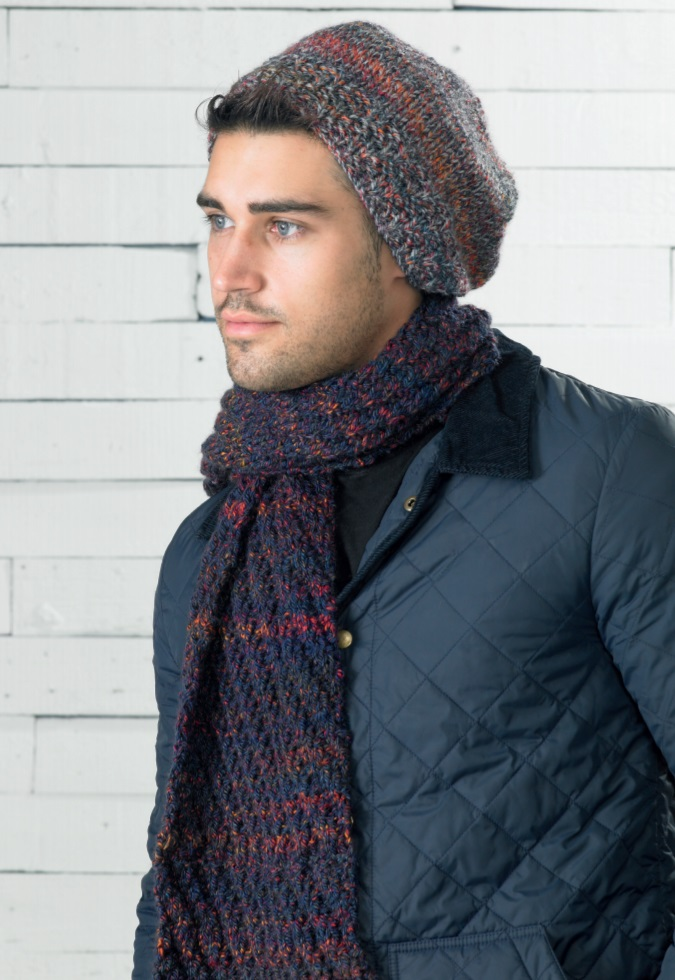 Free knitting pattern for a chunky hat and beanie set for men