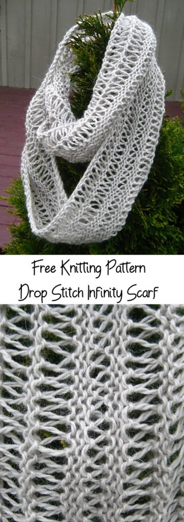 Free knitting pattern for a drop stitch infinity scarf