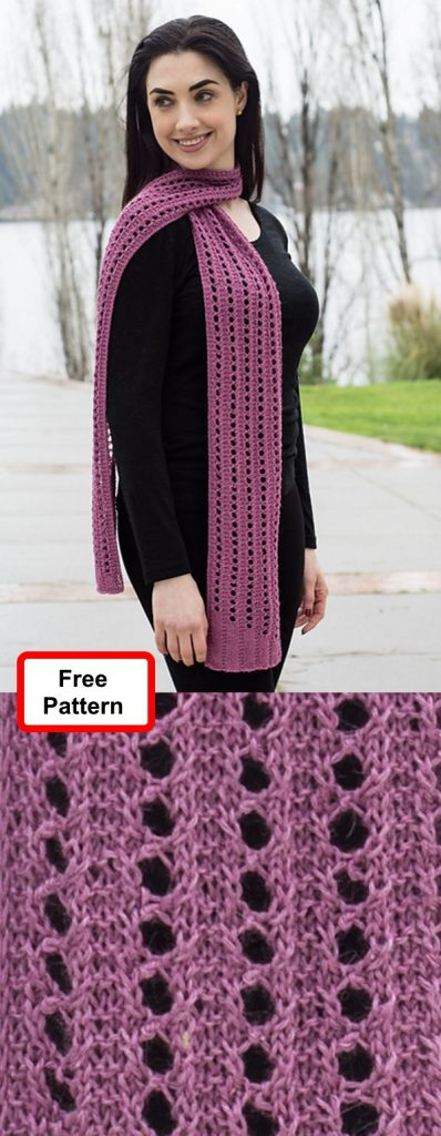 Free knitting pattern for a lace scarf