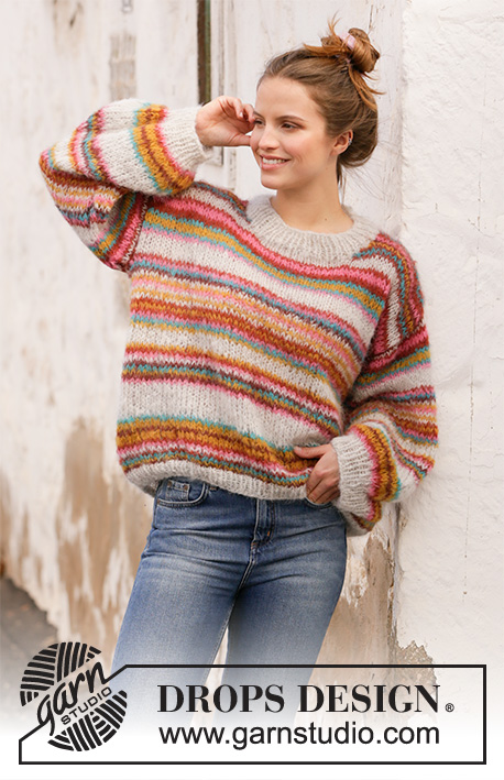 Free knitting pattern for an oversized striped sweater