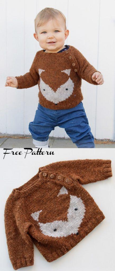 Free Kids Sweater Knitting Pattern for a Little Fox