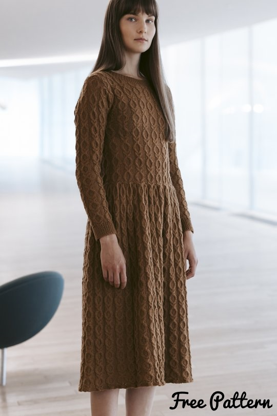 cabled dress knitting pattern